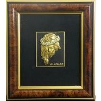 Framed Portrait of Jesus Christ crafted in Gold Damascene by Midas of Toledo Spain Style 4619-1JESUS