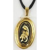Gold Damascene Virgin Mary Oval Pendant on Cord Necklace by Midas of Toledo Spain style 8220-1MARYJ
